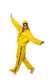The woman in yellow suit on white Royalty Free Stock Photography