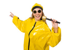The woman in yellow suit on white Royalty Free Stock Photo
