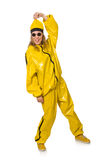 The woman in yellow suit on white Stock Image