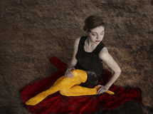 Woman in yellow tights Royalty Free Stock Photos
