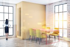 Woman in yellow and white dining room vector illustration