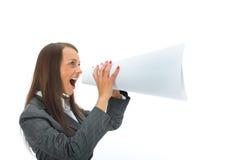 woman yells in megaphone stock images