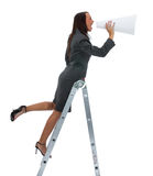 woman yells in megaphone stock photos