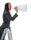 woman yells in megaphone royalty free stock photos
