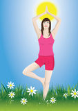 Woman yoga. Woman doing yoga in a meadow Royalty Free Stock Photos