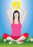 Woman yoga. Pretty woman doing yoga sitting in a meadow Stock Photos