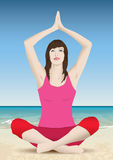 Woman yoga. Pretty woman doing yoga sitting on the beach Stock Images