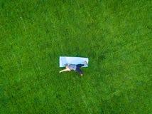 Woman Yoga Aerial Stock Image
