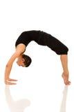 Woman yoga bridge pose. Flexible woman doing yoga bridge pose on white background Royalty Free Stock Photos
