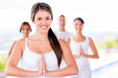 Woman in a yoga class Royalty Free Stock Images