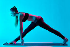 Woman yoga exercices Royalty Free Stock Images