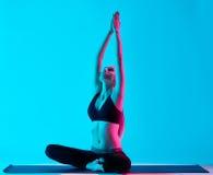 Woman yoga exercices Padmasana Lotus position Stock Images