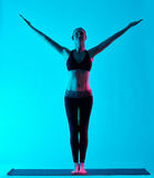 Woman yoga exercices Tadasana mountain pose Royalty Free Stock Photography