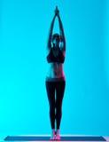 Woman yoga exercices Tadasana mountain pose Royalty Free Stock Image