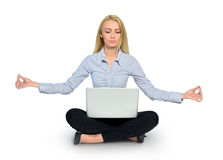 Woman yoga and laptop Stock Images