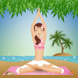 Woman in yoga meditation on the beach Royalty Free Stock Photos