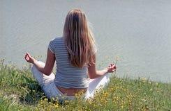 Woman yoga meditation outdoor Stock Photos