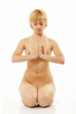 Woman yoga nude young active  on white Stock Photography