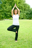 Woman Yoga In Park Stock Image