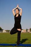 Woman in yoga pose Stock Photo