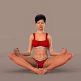 Woman in yoga pose meditating Stock Photography