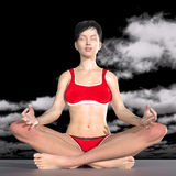 Woman in yoga pose meditation royalty free illustration