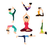 Woman yoga pose position fitness health color flat vector pilates Royalty Free Stock Photo