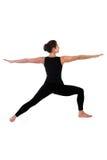 Woman in yoga pose on white Stock Photos