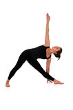 Woman in yoga pose on white Stock Image