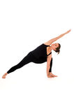 Woman in yoga pose on white Royalty Free Stock Image