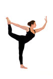 Woman in yoga pose on white Royalty Free Stock Photo