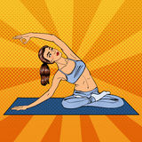 Woman in Yoga Pose. Woman Doing Yoga Exercises. Pop Art Stock Photography
