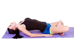 Woman in Yoga Position. Isolated Stock Photography
