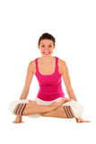 Woman in yoga posture. Balancing on her hands Royalty Free Stock Image