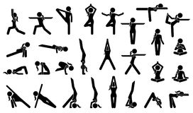 Woman Yoga Postures. Stick figure pictogram depicts various yoga positions, stance, poses, and workout Royalty Free Stock Image