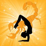 Woman in yoga scorpio asana Royalty Free Stock Image