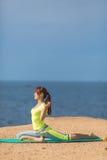 Woman yoga. Series. Outdoor. On the seashore Royalty Free Stock Photo