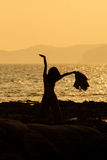 Woman Yoga in Sunset. At Krabi Thailand, Asia Royalty Free Stock Photos
