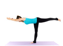 Woman yoga teacher. In various poses asana isolated on white background Royalty Free Stock Photos