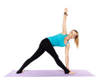Woman yoga teacher. In various poses asana isolated on white background Royalty Free Stock Photography