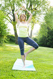 Woman in yoga tree pose Stock Photography
