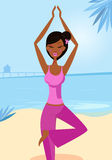 Woman in yoga tree pose on the sunny beach. Sexy woman practicing asana - tree yoga pose. Calm blue ocean background behind the girl. Vector Illustration Stock Photo