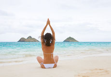 woman yoga white beach Royalty Free Stock Image