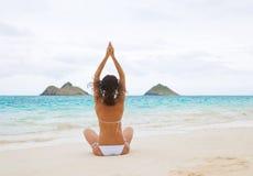 woman yoga white beach royalty free stock image