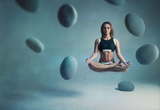 Woman yogi levitation Royalty Free Stock Photography
