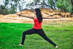 Woman Yogi Performs Warrior Pose in Park Royalty Free Stock Photography