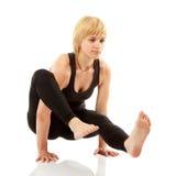 Woman yogi in yoga pose stock photography