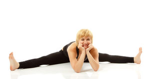 Woman yogi in yoga pose Stock Photos