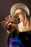 Woman with Yorkshire Terrier Stock Images