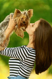Woman with Yorkshire Terrier Royalty Free Stock Image
